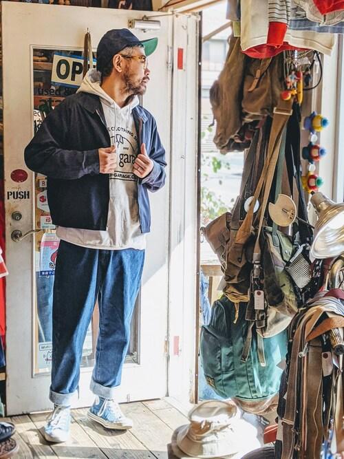 ataco garageさんの「60s 70s Sears ジャケット ブルゾン メンズXL相当 ネイビー 無地 ジャンパー スイングトップ ラグラン 古着」を使ったコーディネート