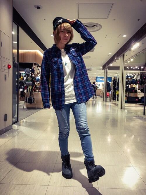 "AVIREX 立川Clara""Yuhki""さんのシャツ/ブラウス「AVIREX/ アヴィレックス/ TYPE BLUE L-INDIGO CHECK WORK SHIRT/ タイプブルー インディゴ チェック ワークシャツ(AVIREX|アヴィレックス)」を使ったコーディネート"