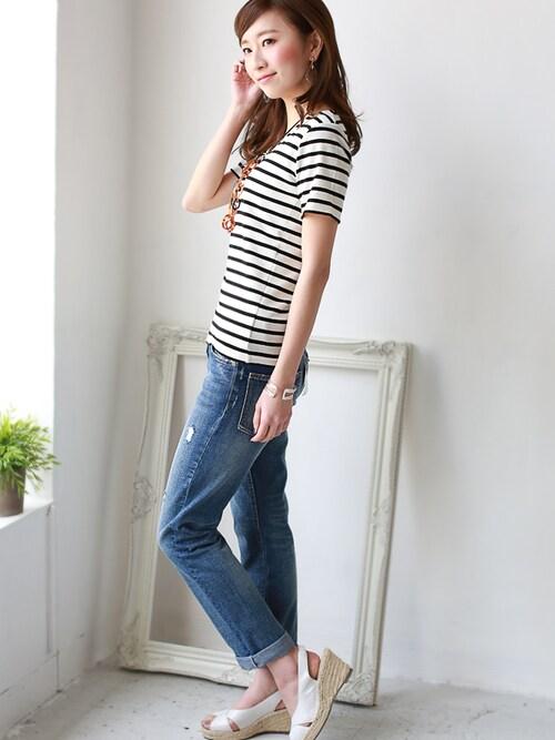 REAL CUBEREALCUBEさんのTシャツ/カットソー「前身頃が2重で透けない!REAL CUBE Vネックフライスカットソー(REAL CUBE|リアルキューブ)」を使ったコーディネート