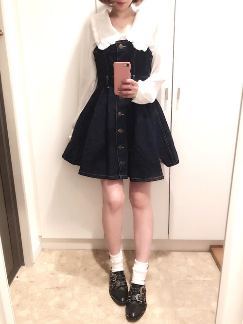 ayumi watanabeさんの「Love me denim one-piece dress(RoseMarie seoir)」を使ったコーディネート