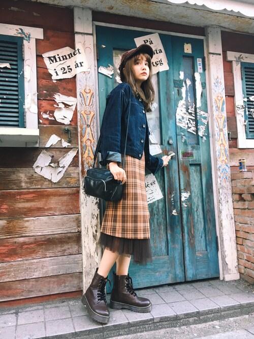 村田倫子さんのスカート「チュールコンビ巻きラップスカート(MYSELF ABAHOUSE|マイセルフアバハウス)」を使ったコーディネート