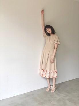 村田倫子さんのワンピース「tulip sleeve onepiece/チューリップスリーブワンピース(idem イデム)」を使ったコーディネート