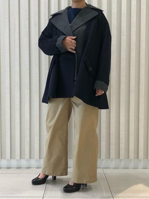 B'2nd roit 札幌B′2nd   roit札幌スタッフさんのその他アウター「Yasutoshi Ezumi(ヤストシエズミ)カラー別注Wコート(Yasutoshi Ezumi|ヤストシエズミ)」を使ったコーディネート