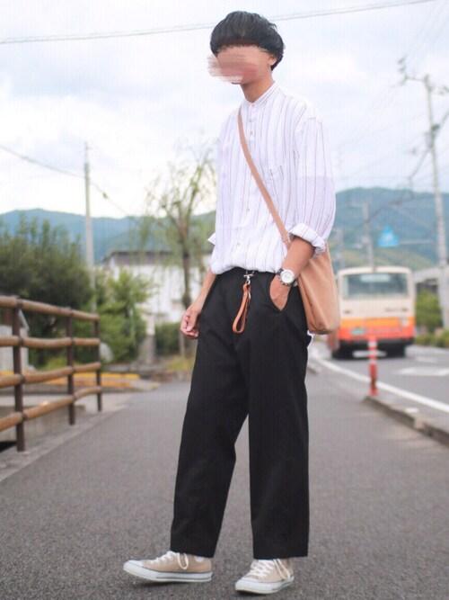 にっしーさんのシャツ/ブラウス「キュプラ ストライプ ロング シャツ(ABAHOUSE|アバハウス)」を使ったコーディネート