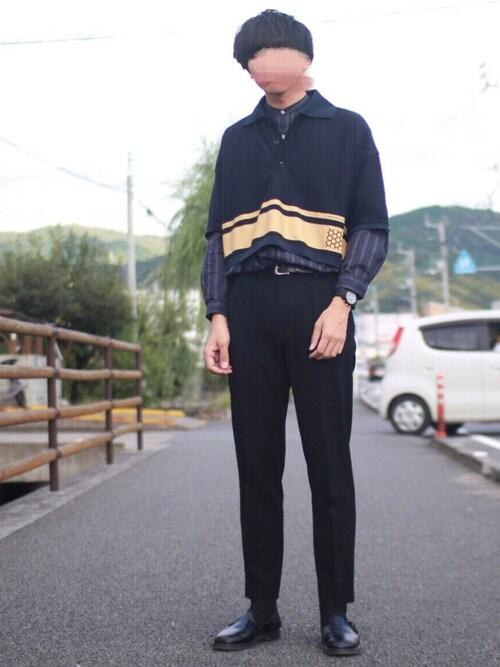 にっしーさんのシャツ/ブラウス「ストライプ バンドカラー ロングシャツ(ABAHOUSE アバハウス)」を使ったコーディネート