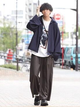 にっしーさんのシャツ/ブラウス「3way DOLMAN SLEEVE BALLON SHIRTS / 3wayドルマンスリーブバルーンシャツ(shiki tokyo シキトウキョウ)」を使ったコーディネート
