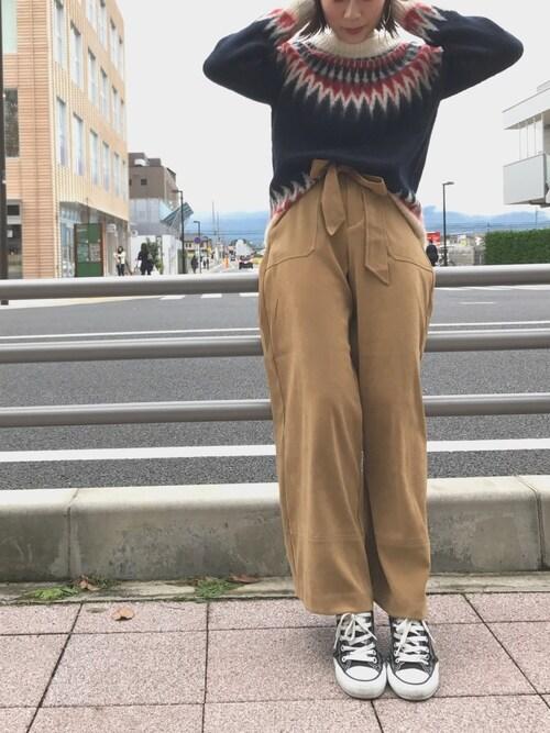 Ciaopanic海老名店Tomomi  Sasakiさんのニット/セーター「モヘヤ混ジャガードニット(CIAOPANIC|チャオパニック)」を使ったコーディネート