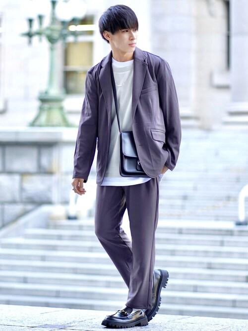 こーせ︎︎︎︎︎︎︎︎☑︎さんの「ジョーゼットストレッチ シングル テーラード 2Bジャケット×トラウザーズ 【セットアップ】(Loungewear tokyo)」を使ったコーディネート