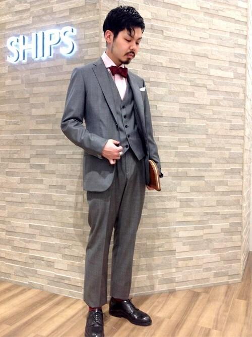 SHIPS 神戸店細川さんの蝶ネクタイ「SD:【CANEPA】社製生地 ニット ボウタイ (蝶ネクタイ)(SHIPS|シップス)」を使ったコーディネート