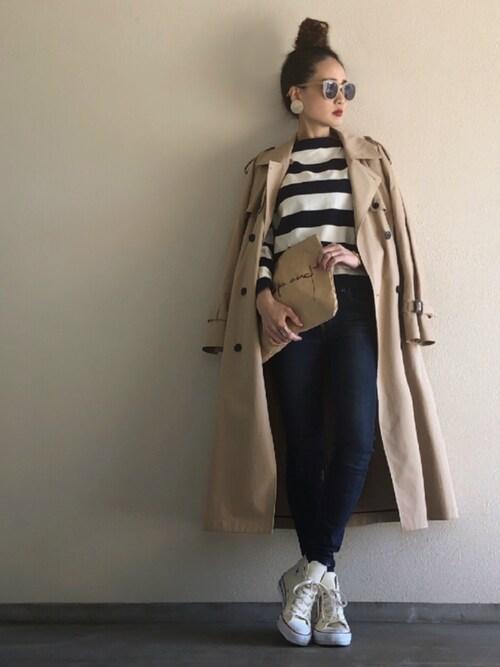 Yukie♡iさんのトレンチコート「UWSC コットン ビッグ トレンチコート† ◆(UNITED ARROWS|ユナイテッドアローズ)」を使ったコーディネート