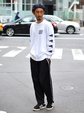"68&BROTHERS TOKYO|【68&brothers】KSKさんの「Crew Sweat ""SWEAT BACK""(68&brothers)」を使ったコーディネート"
