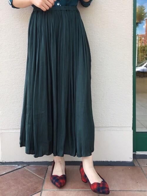 PICCINPICCIN  百道浜店さんのスカート「ギャザーワッシャースカート(PICCIN ピッチン)」を使ったコーディネート