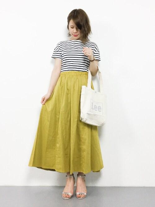 ZOZOTOWNnatsumiさんのTシャツ/カットソー「【ORCIVAL】ルーズボートネックTシャツ ST WOMEN(ORCIVAL オーシバル)」を使ったコーディネート