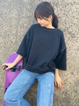 classicalelf classicalelfさんのTシャツ/カットソー「ステッチで1+。ゆったり5分袖スウェット(classicalelf クラシカルエルフ)」を使ったコーディネート