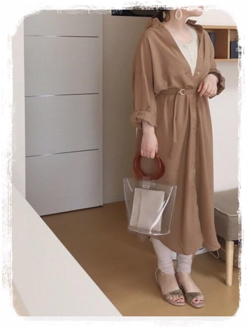 75さんの「前後2WAYシャツワンピ(natural couture)」を使ったコーディネート