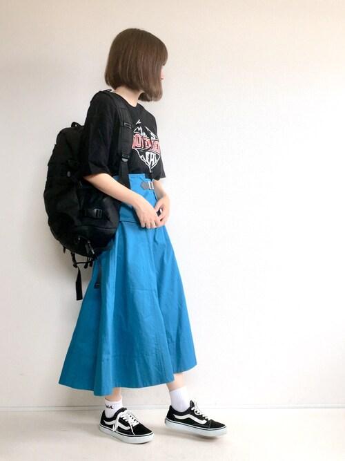 てらさんのTシャツ/カットソー「GRRRLS MOVEMENT DROP SHOULDER S/S TEE(X-girl|エックスガール)」を使ったコーディネート
