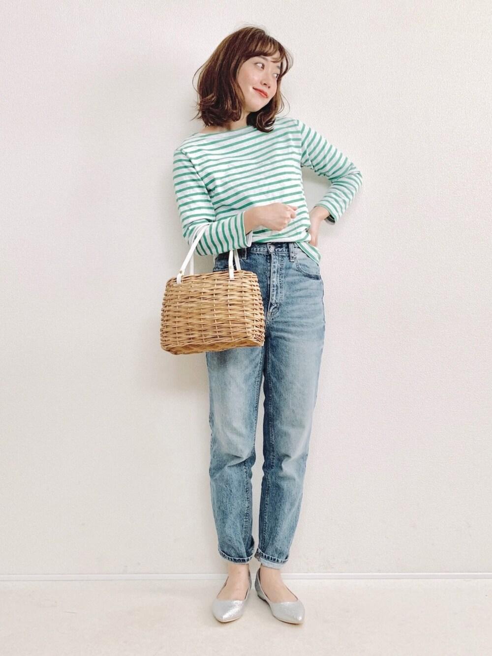 爽やか ママコーデ ファッション ボーダー エメラルドグリーン 30代 ママ