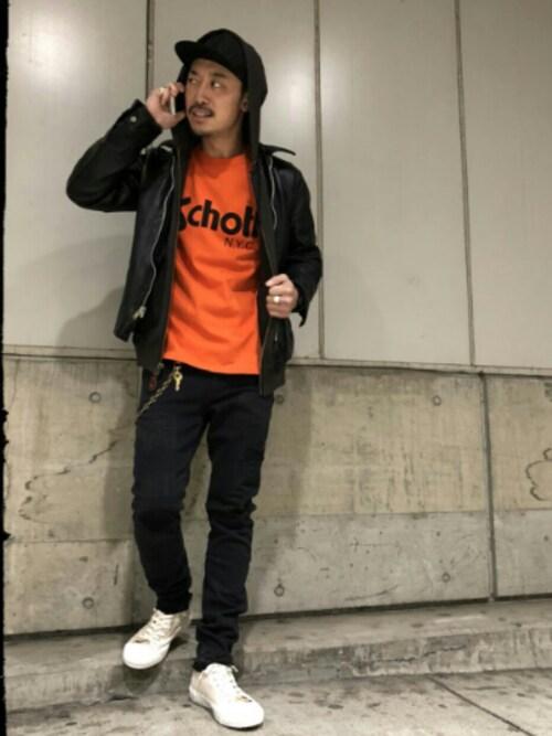 B'2nd 札幌 STELLAR PLACEYasunori ChijiwaさんのTシャツ/カットソー「Schott/ショット/LONGSLEEVE T-SHIRT BASIC SCHOTT LOGO/ショット ロゴ(schott|ショット)」を使ったコーディネート