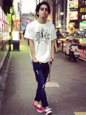 ZIP FIVE|Matsuさんの「AZ by junhashimoto Denim crash Uncle pants(AZbyjunhashimoto)」を使ったコーディネート