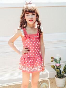 856fcaee3eaf9 TeddyShop|KidsTeddyさんの「UPF50+ キッズ水着 女の子 オールインワン ガーリードット柄ワンピース 2colors