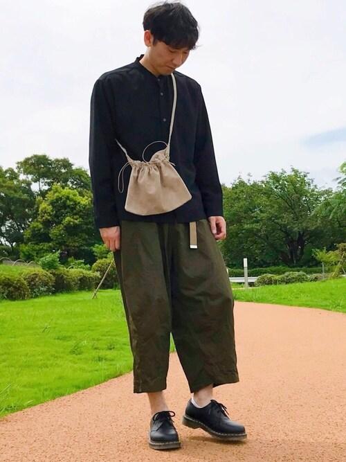 ザキオさんの「ブライトポプリンリラックスバンドカラーシャツ Poplin Band Collar Shirt Long sleeve(EMMA CLOTHES)」を使ったコーディネート