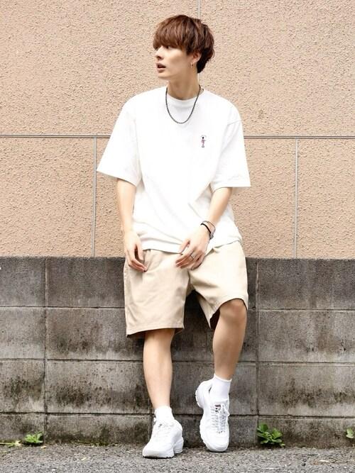 冨田 幸大さんの「<USAコットン使用>ワンポイント刺繍Tシャツ/877746(RAGEBLUE)」を使ったコーディネート