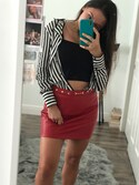 "Lorena Sanabria is wearing Forever 21 ""FOREVER 21+ Faux Leather Mini Skirt"""