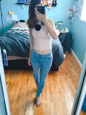"Courtney.C is wearing Forever 21 ""FOREVER 21 High-Rise Skinny Jeans"""