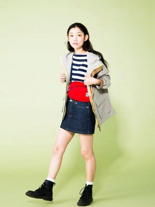 阿久津ゆりえさんのデニムスカート「ミニスカート(A.P.C.|アーペーセー)」を使ったコーディネート
