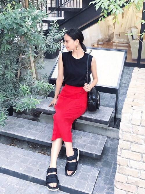ARISAさんのスカート「テレコSK(AZUL BY MOUSSY|アズールバイマウジー)」を使ったコーディネート