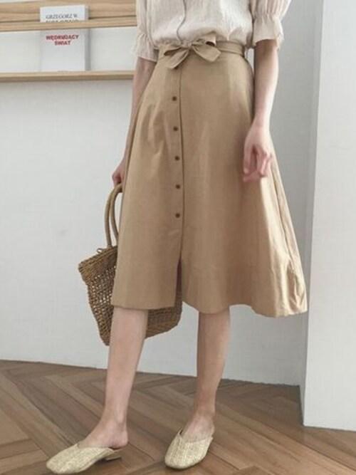 styleagentさんの「ウエストリボンボタンスカート」を使ったコーディネート