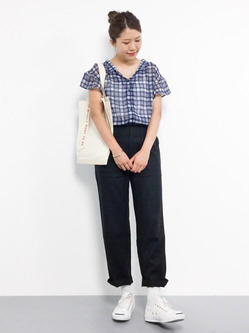 ZOZOTOWNやまちゃんさんのシャツ/ブラウス「マドラスチェックカイキンシャツ 796564(Heather ヘザー)」を使ったコーディネート