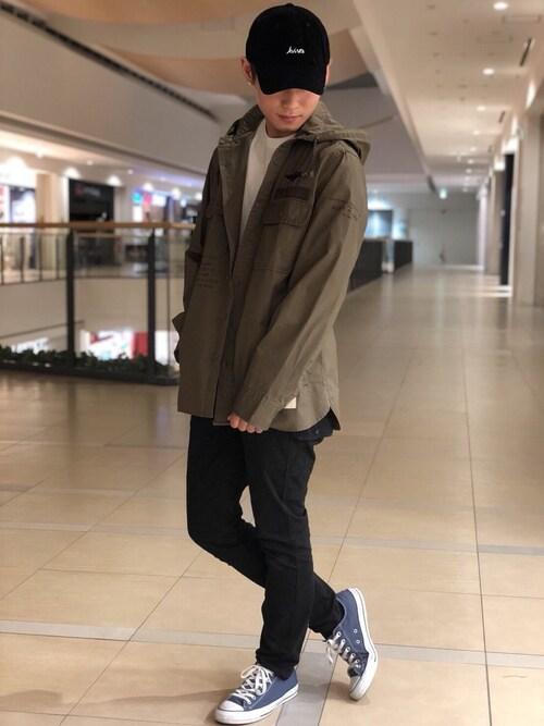 AVIREX ららぽーと横浜Ryoさんのシャツ/ブラウス「AVIREX/アヴィレックス/ステンシル フード カーキシャツ/COOLMAX STENCIL HOOD KHAKI SHIRT(AVIREX|アヴィレックス)」を使ったコーディネート