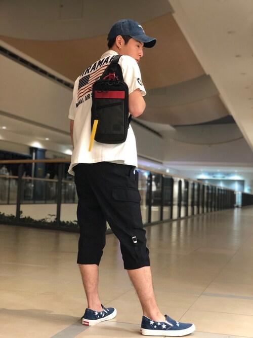 AVIREX ららぽーと横浜大山凌さんのシャツ/ブラウス「AVIREX/アヴィレックス/ 半袖 パッチド ミリタリーシャツ ネーヴァル エア ステーション ミラマー/ S/S PATCHED MILITARY SHIRT NAVAL AIR STATION MIRAMAR(AVIREX|アヴィレックス)」を使ったコーディネート