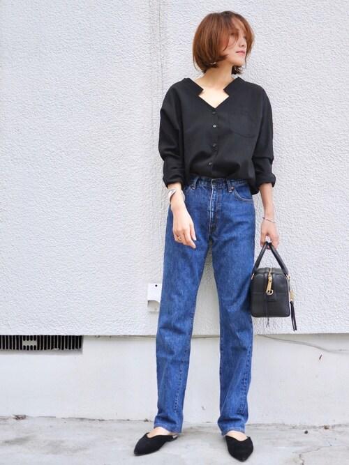 デニム 着こなし ママファッション ハンサム 40代