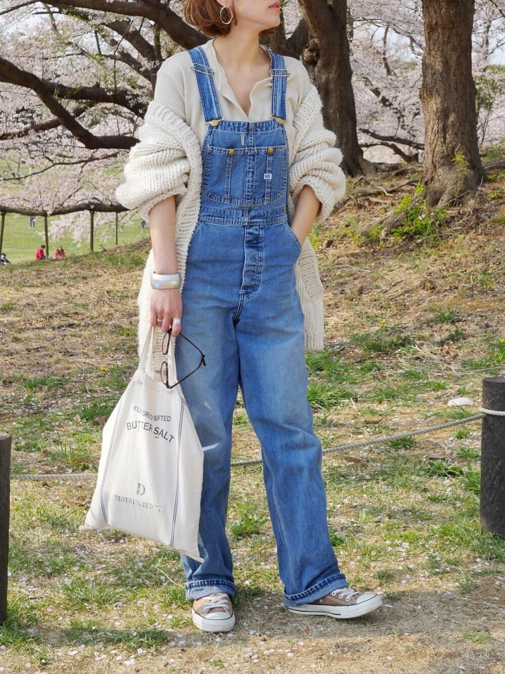BBQ コーデ 春 アウトドア ファッション おしゃれ ママ リンク Lee オーバーオール