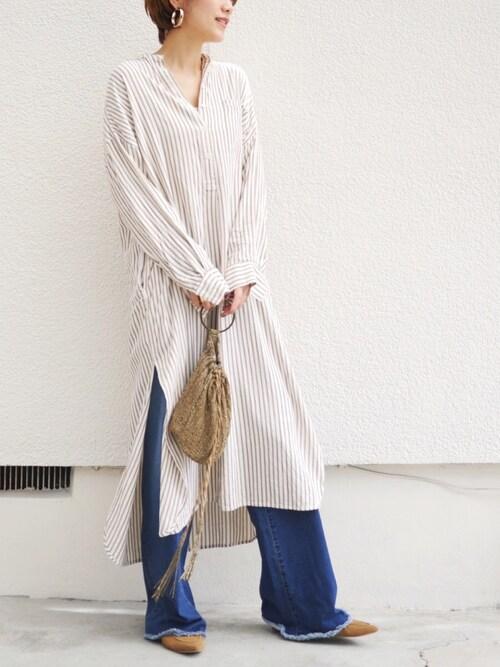 金子三記(miki)さんの「ストライプシャツドレス(TODAYFUL)」を使ったコーディネート