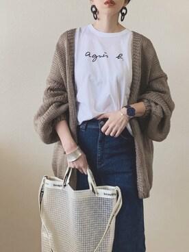 MISATO さんのTシャツ/カットソー「S137 TS ロゴTシャツ(agnes b.|アニエスベー)」を使ったコーディネート