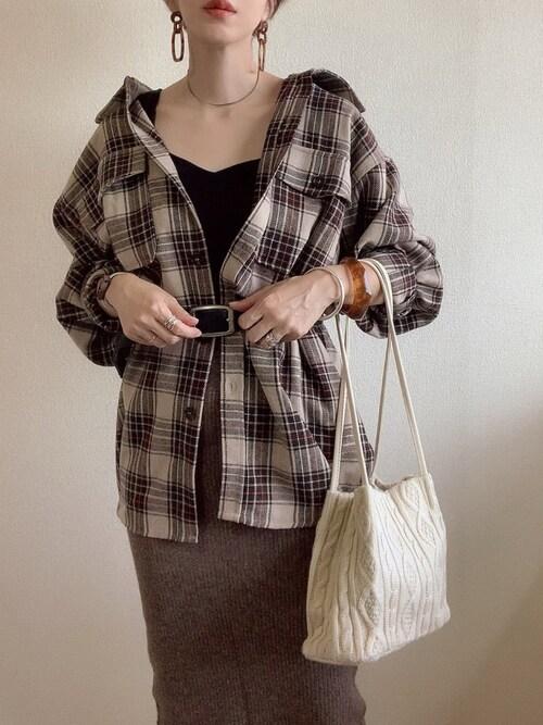 MISATO さんの「WEARISTA YUKI × AUNT MARIE'S チェックCPO BIGシャツ(Aunt Marie's)」を使ったコーディネート