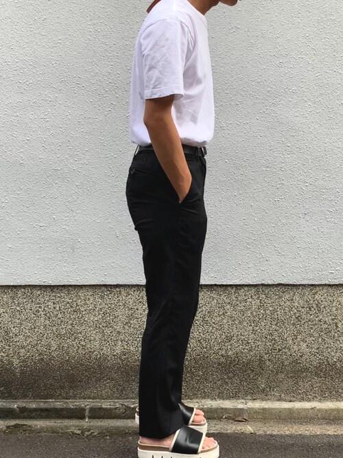 た@U170さんの「【Hanes/ヘインズ】tシャツ 2枚組クルーネック(丸首)Tシャツ(HANES)」を使ったコーディネート