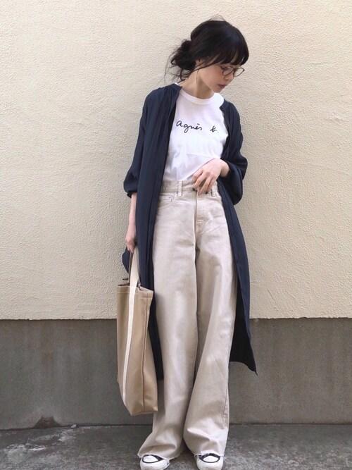 ari☆さんの「S137 TS ロゴTシャツ(agnes b.)」を使ったコーディネート