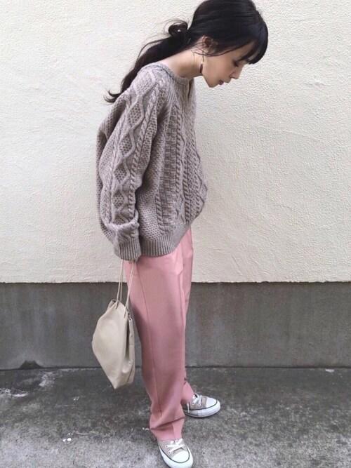 ari☆さんのスラックス「【chuclla】【2020/AWウール混素材追加】Semi wide color slacks sb-1 chw869(chuclla|チュクラ)」を使ったコーディネート