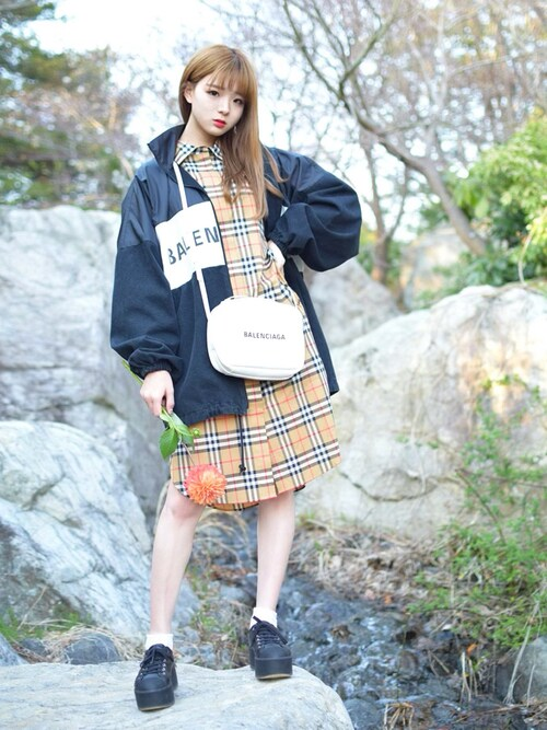 "poyo is wearing Burberry ""Burberry Isotto Tartan Shirtdress"""