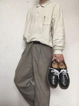 485523d8ed89 crocodile(クロコダイル)のポロシャツを使ったメンズコーディネート ...