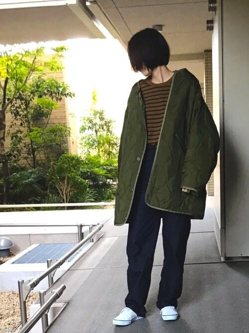 shihomiさんのノーカラージャケット「WEB限定 M-65 キルトライナーコート(FREAK'S STORE|フリークスストア)」を使ったコーディネート