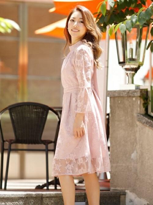 Doula Douladouladoulaさんのドレス「オーガンジーフレアスリーブAラインワンピース(Doula Doula|ドゥーラドゥーラ)」を使ったコーディネート