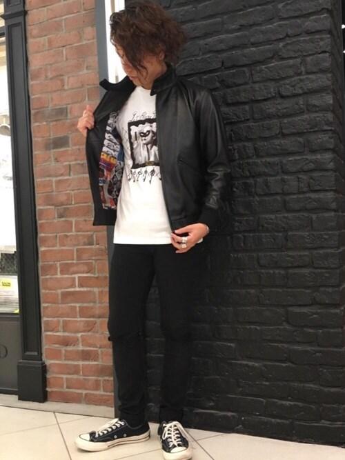 HYSTERIC GLAMOUR池袋パルコ店ryutaro shimoyamaさんのデニムパンツ「SU加工ISKOツイル スリムパンツ(HYSTERIC GLAMOUR|ヒステリックグラマー)」を使ったコーディネート