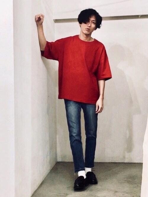 かずくんさんの「エクストラルーズTシャツ(5分袖)(SENSE OF PLACE by URBAN RESEARCH)」を使ったコーディネート
