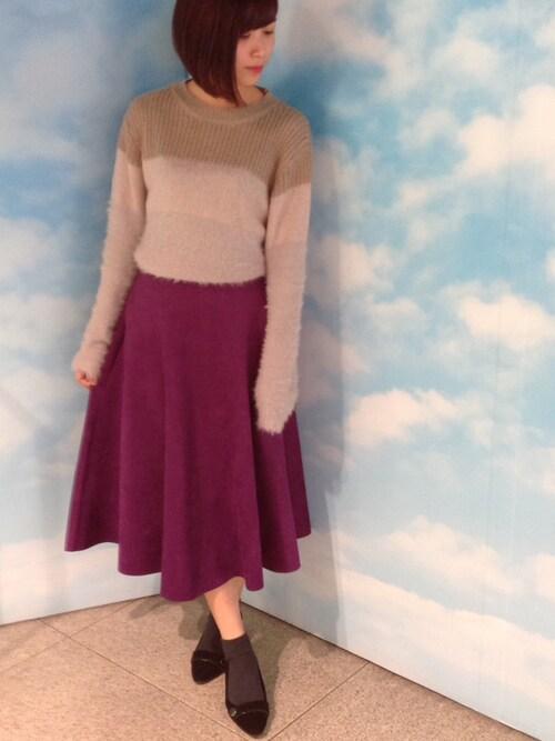 actuel 池袋esola店Yukiさんのニット/セーター「異素材MIXニット(INTERPLANET インタープラネット)」を使ったコーディネート