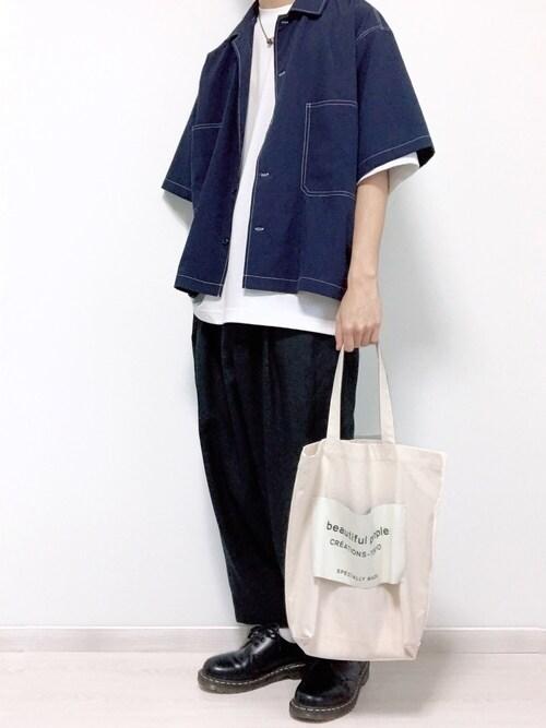 ゆーやさんの「WEGO/配色ステッチBIG5分袖シャツ(WEGO)」を使ったコーディネート